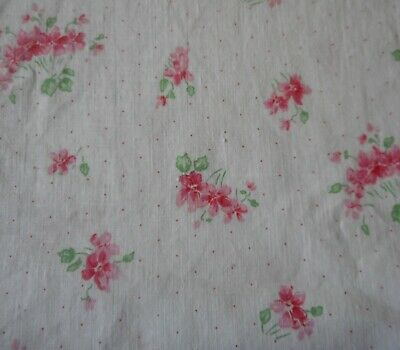Darling Antique Smaller Scale Violet Floral Dot Cotton Fabric ~Pink White~ dolls