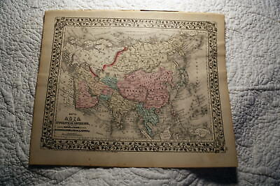 1877 Rare Beautiful Antique Mitchell Atlas Map Of Asia-Handcolored