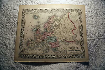 1877 Rare Beautiful Antique Mitchell Atlas Map Of Europe-Handcolored