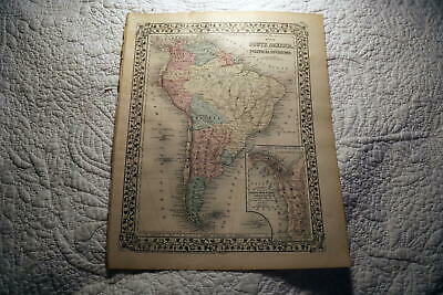 1877 Rare Beautiful Antique Mitchell Atlas Map Of South America-Handcolored