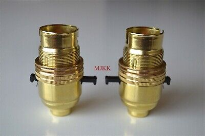 2 B22 safety switched bayonet brass bulb holder table lamp with shade ring L9