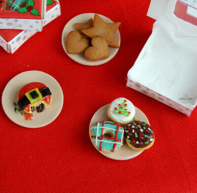 12th Scale Christmas Donuts In Festive Box - Dollhouse Food Miniature Art