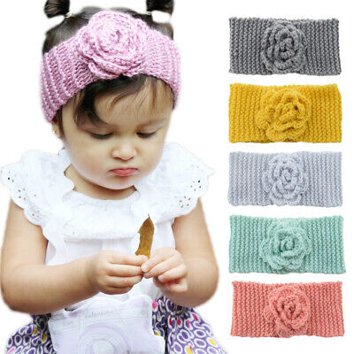 Baby Girls Kids Toddler Flower Knitted Hairband Headband Warm Winter Head-Wrap