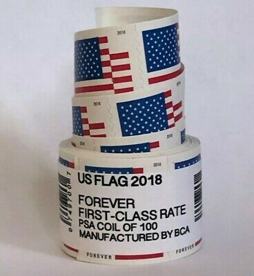 USPS Flag Forever Coil of 100 Postage Stamps, Stamp Design May Vary (SEALED)