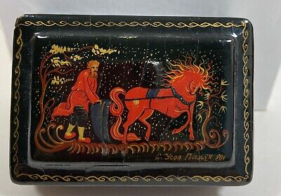 """Vintage Small Russian Lacquer Box Man with Horse Scene 2"""" x 3"""" Signed"""