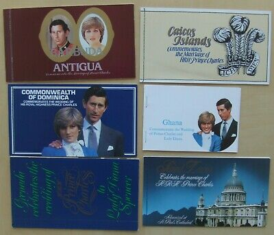 6 commonwealth booklets Charles & Diana including 39 mint stamps. Antigua Barbua