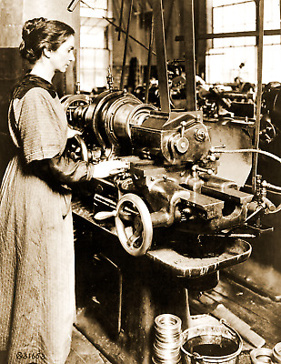"""1918 Woman Working on a Milling Machine, MA Vintage Old Photo 8.5"""" x 11"""" Reprint"""