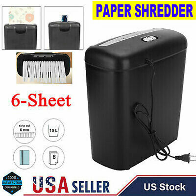 6-sheet Electric Paper Shredder Home Office Cross-cut for Paper and Credit Card