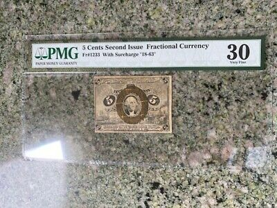 5C Second Issue Fractional Currency Fr#1233 With Surcharge 18-63 Pmg 30