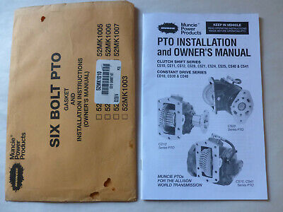 6 Bolt Genuine Muncie Powerflex PTO Installation instructions and Owners manual