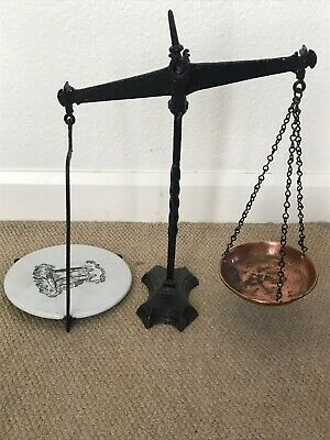 Antique Cast Iron Shop Beam Balance Weighing Scales With Ironstone Scale Plate