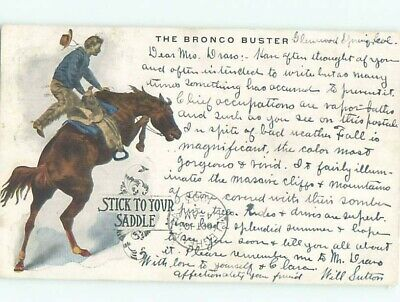 1903 Western THE BRONCO BUSTER - COWBOY ON HORSE AC6617