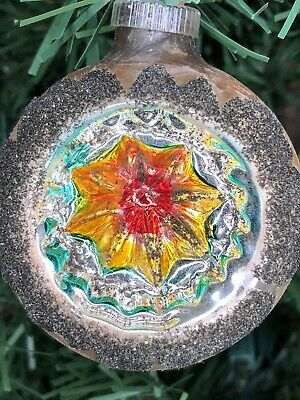 Vintage glass Christmas Ornament indent mercury glass West Germany gold satin