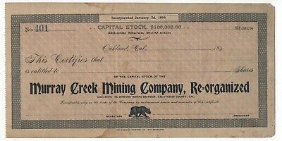 1890s Stock Certificate Murray Creek Mining Co Oakland & Calaveras County CA