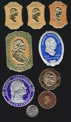 US 1932 Washington Bicentennial Expo Embossed Foil Stamps Lot of 8