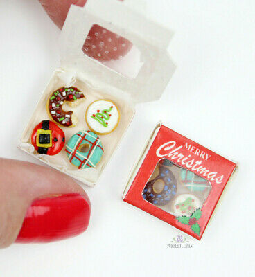 Artisan 12th Scale Christmas Decor Donuts In Box Dollhouse Food Miniature Cake