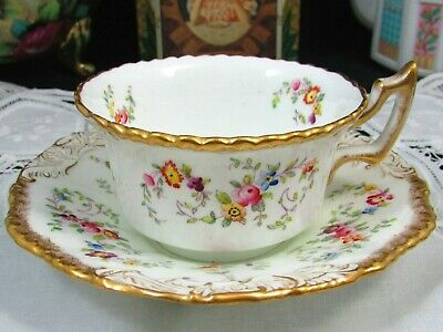 Coalport Hp Floral Embossed Gold Batwing Tea Cup And Saucer