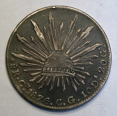 1876 CnCG Mexico silver 8 Reales coin KM-337.3