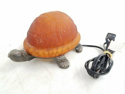 "Amber Glass Metal Turtle Lamp 4"" Tall"