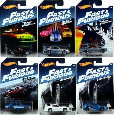 Hot Wheels 2017 Fast & the Furious LOT of 6 S2000 Skyline Supra WRX Escort Road
