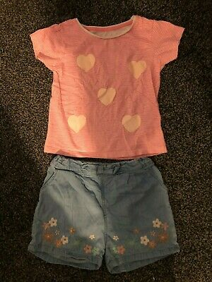 Girl's Blue Denim Shorts & Pink & White Striped T-Shirt Set Age 4-5 Yrs
