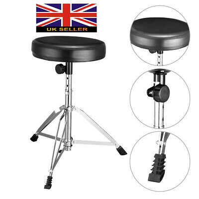 Double Braced Padded Top Drum Stool Piano Stool Throne Seat Foldable Adjustable