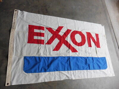Vintage Official Exxon Gas Station Color Logo Flag w Sewn Letters 3x5 Looks NOS