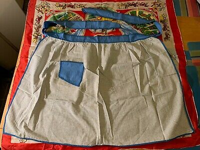Vintage Half Apron with blue pocket chequer pattern