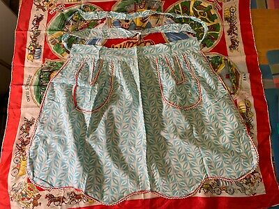Vintage half apron with two pockets light blue Funky Retro Pattern