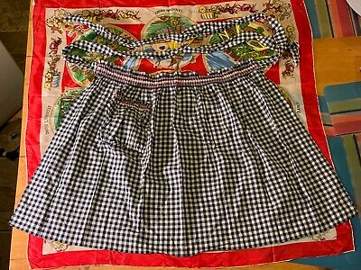 Vintage half apron with pocket chequer pattern