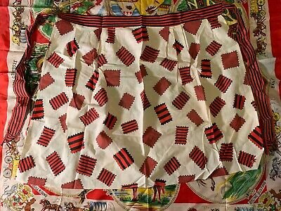 Vintage Half Apron Funky Style Fake Patches Red and white