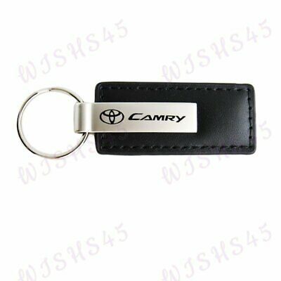 For Toyota Camry Key Ring Black Leather Rectangular Keychain - KC1540.CAM