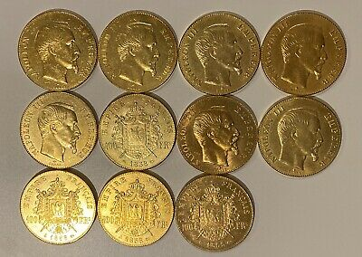 Lot De 11 Pieces 100 Francs Napoleon Tete Nue Lauree Reproduction Plaqué Or Coq