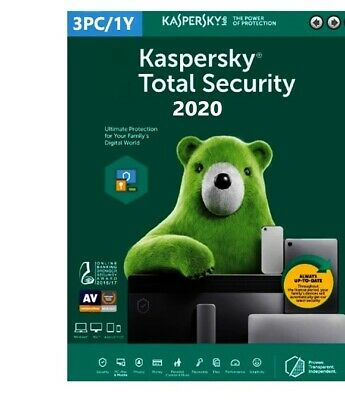 Kaspersky Total Security 3 PC/Mac /1 Year- 2020- Global Key/INSTANT DELIVERY