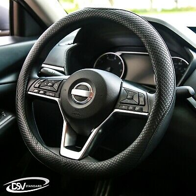 DSV Standard | Black Leather Heated Car Steering Wheel Cover | 15 inches