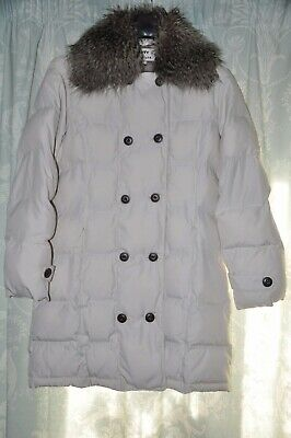 M&S PER UNA CREAM BUTTON UP FAUX FUR   PARKA COAT JACKET M  peruna