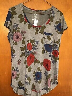 New Nwt Maurices Flowered Cap Sleeve Top Shirt Size Large L Summer Vacation