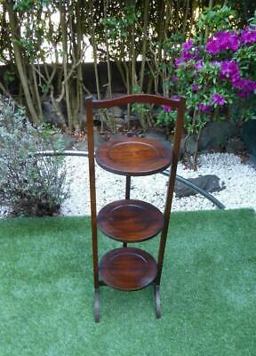 GOOD QUALITY Edwardian Antique Folding Cake Stand or Plate Stand MAHOGANY
