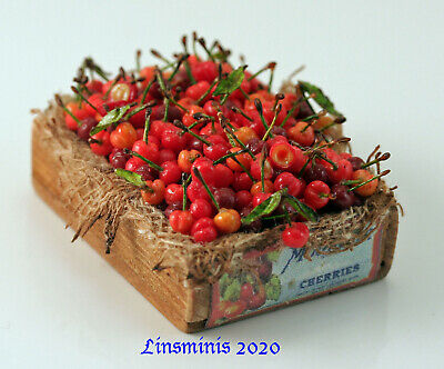 12th Scale Handmade Dollhouse Miniature *Crate of Cherries*....IGMA Fellow