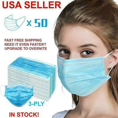 [50 PCS BOX] Disposable Face Mask 3-Ply Medical Surgical Mouth Cover Respirator