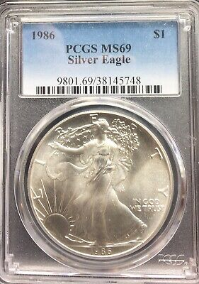 1986 MS69 PCGS American Silver Eagle First Year Minted 1oz $1 Mint State