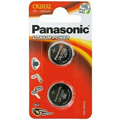 NEW! Panasonic Lithium Pack Of 2 Coin Cell Cr2032 Batteries