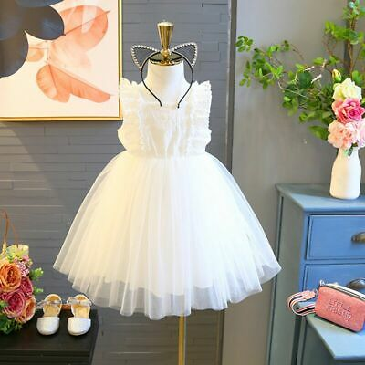 Kids Toddler Baby Girls summer Party Outfits Cotton Pierced Lace Princess dress