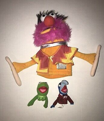 The Muppets Hand Puppet & Finger Puppets Lot - Animal / Kermit The Frog / Gonzo
