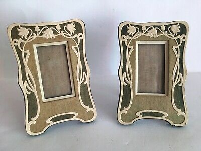 Stunning Pair C.1900 Antique Art Nouveau Photo Frames Leather Stainedwood Card