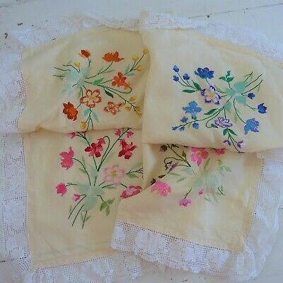 vintage hand embroidered  lace edged tablecloth46x46  inches