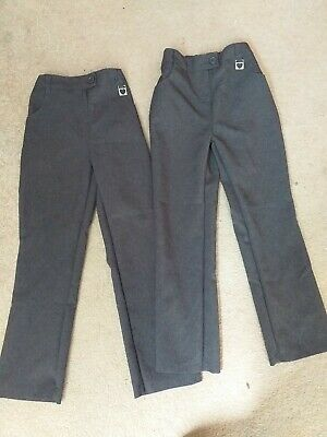 2 Pairs Girls Grey School Trousers, Age 7-8 Years