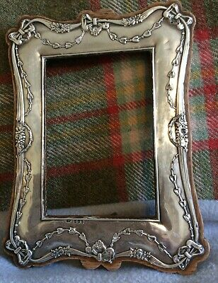 Edwardian 1910 Birmingham Hallmarked Sterling Silver Photo Frame - Swags & Bows