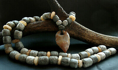 GENUINE WOOLY MAMMOTH FOSSIL BEADS + NEOLITHIC FLINT ARROW HEAD & BEADS - rare