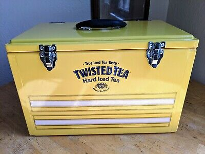 Rare Twisted Tea Metal Cooler Ice Chest WITH Quilt Advertising Promo